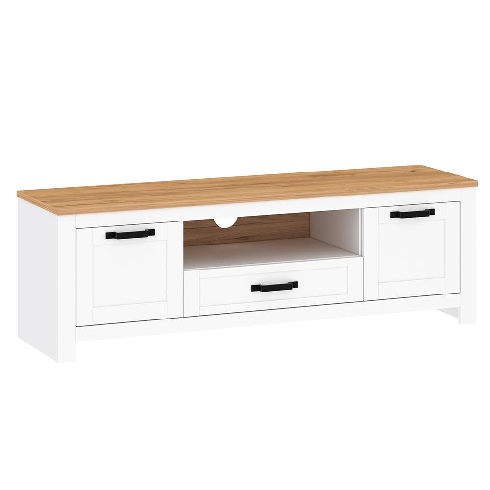RTV stolek, bílá alba / dub craft zlatý, LANZETTE B