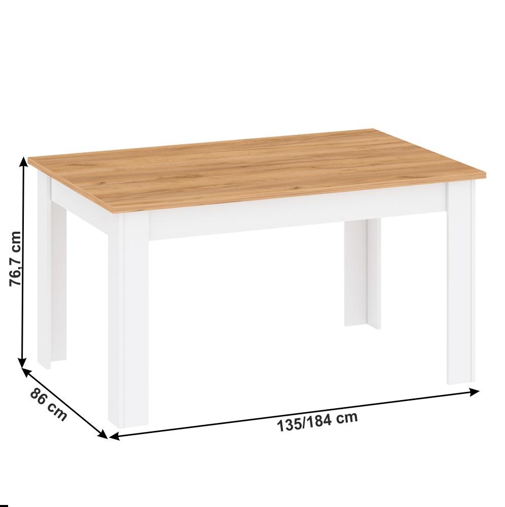 Masa dining extensibila din DTD laminat Lanzette Alb/Stejar