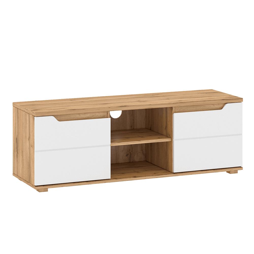 RTV stolek, dub Wotan / bílá extra vysoký lesk HG, Vinco B