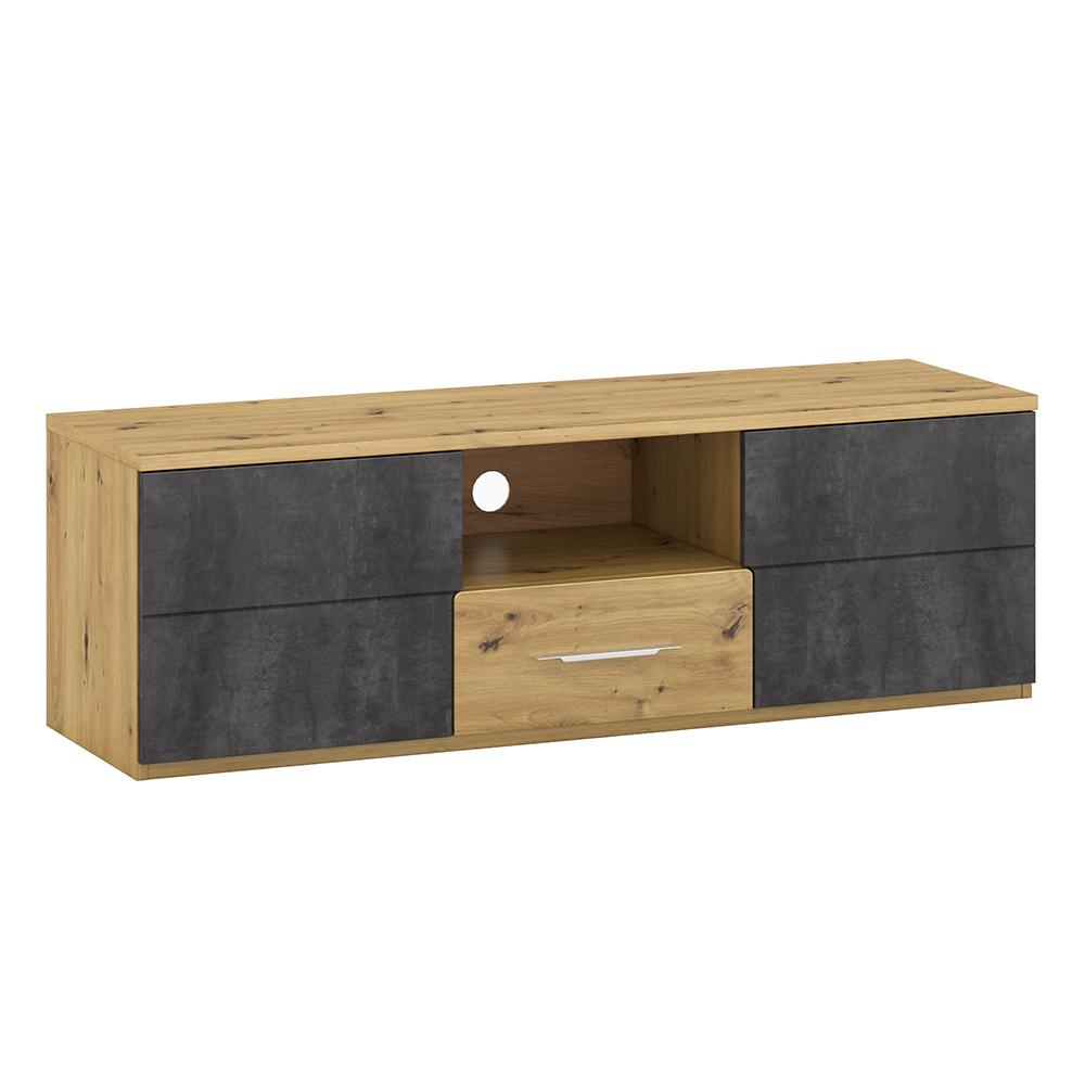 TV asztal B, artisan tölgy/szürke beton, ERIDAN