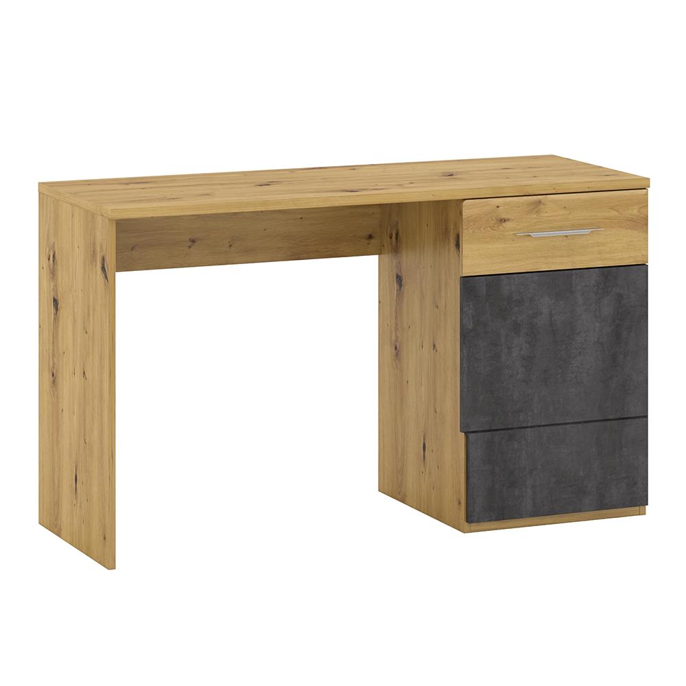 Masă pt. calculator P2, stejar artizanal / beton gri, ERIDAN