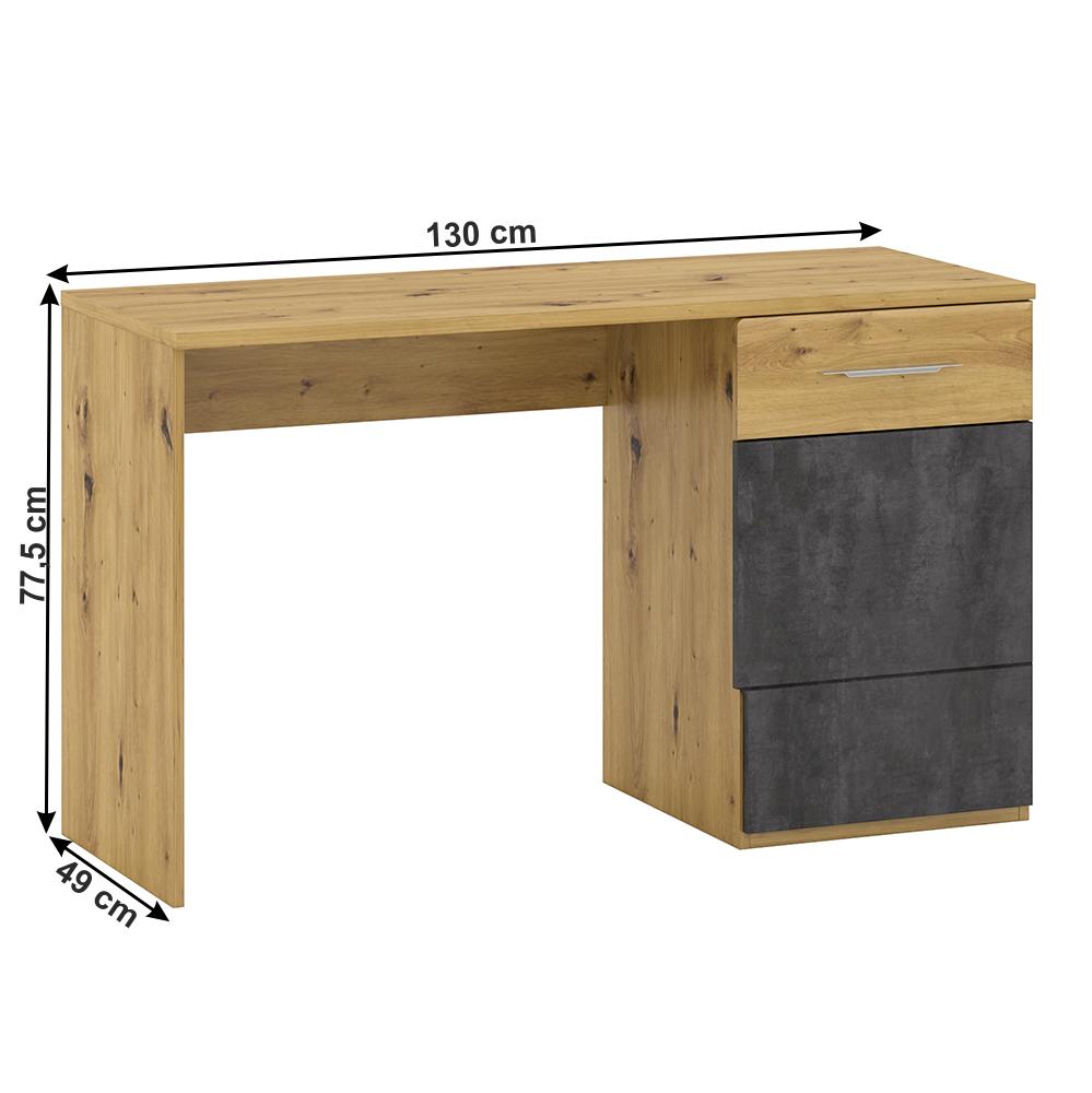 PC stůl P2, dub artisan/šedý beton, ERIDAN