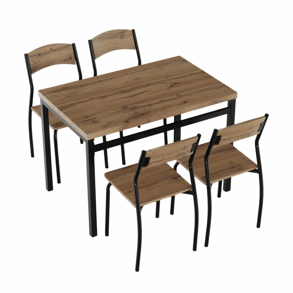 Jedálenský set 1+4, dub artisan/čierna, AMANDA, rozbalený tovar