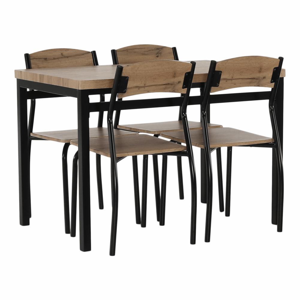 Set masa si 4 scaune din MDF si metal Amanda Stejar/Negru