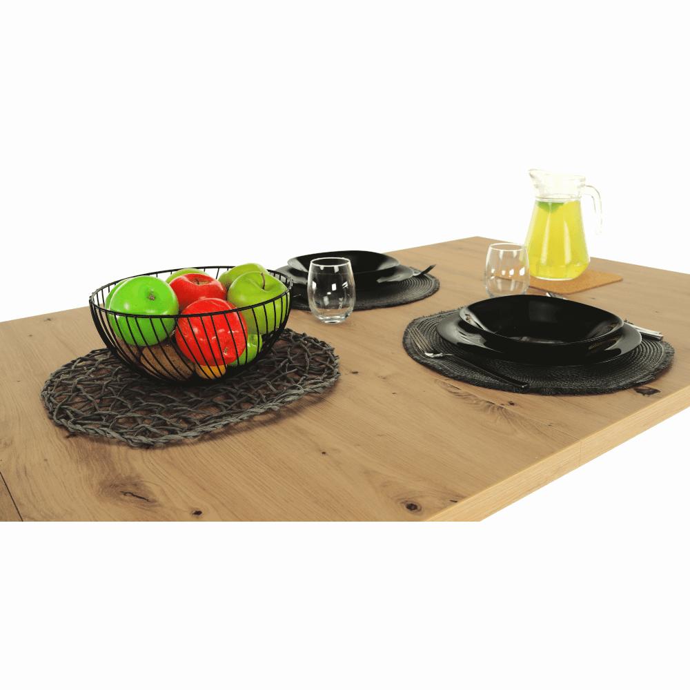 Masa dining extensibila din DTD laminat Eridan Stejar/Gri
