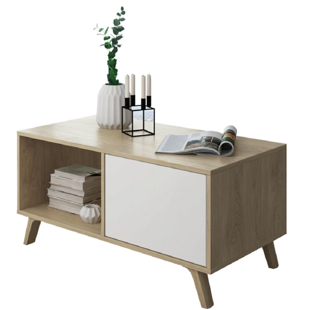 Dohányzóasztal, tölgyfa puccini/fehér, LAND