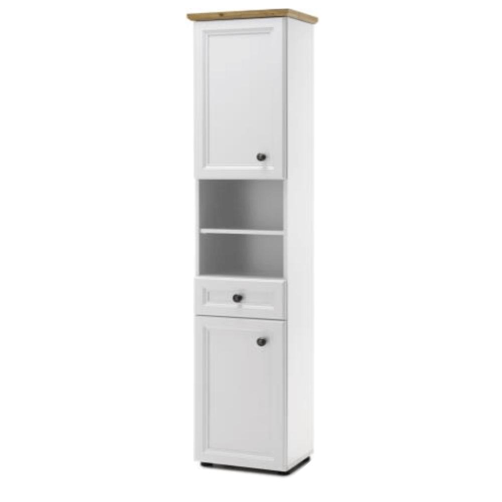 Magas szekrény, fehér/artisan tölgy, TOSKANA