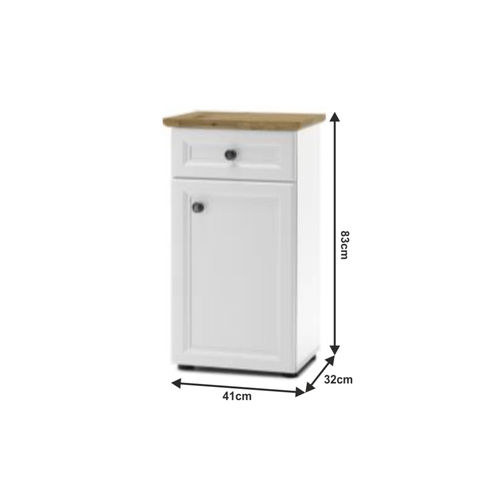 Spodní skříňka, bílá/dub artisan, TOSKANA
