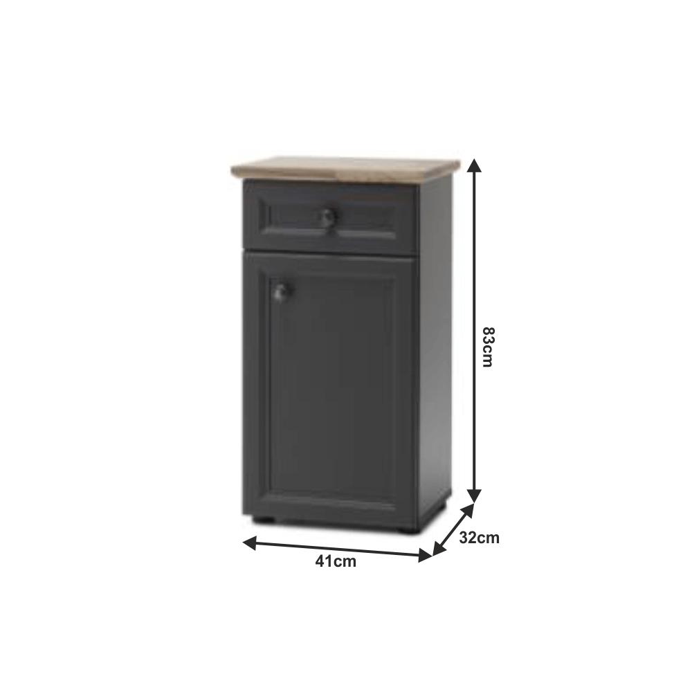 Spodní skříňka, tmavě šedá/dub, TOSKANA