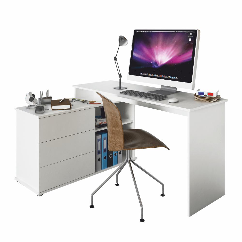 TERINO - univerzální rohový PC stůl, bílá, TEMPO KONDELA