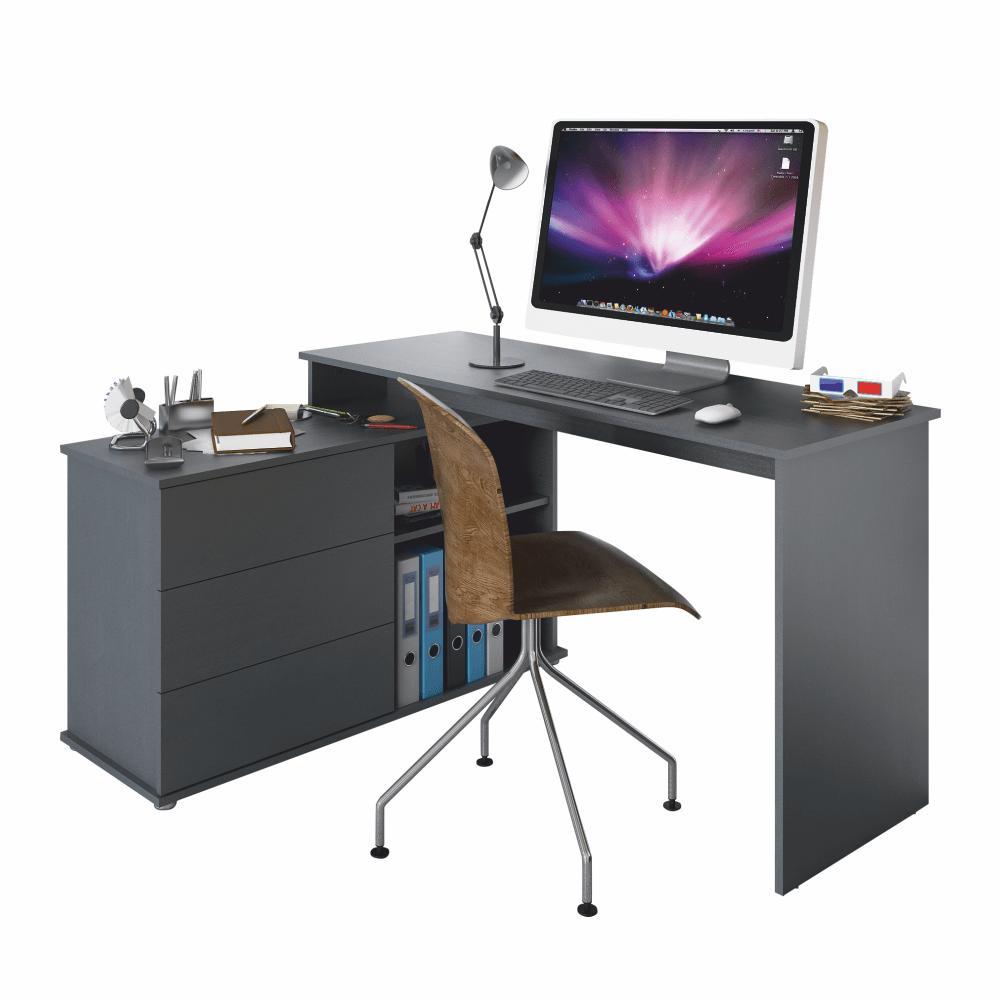 Birou PC universal de colț, grafit, TERINO