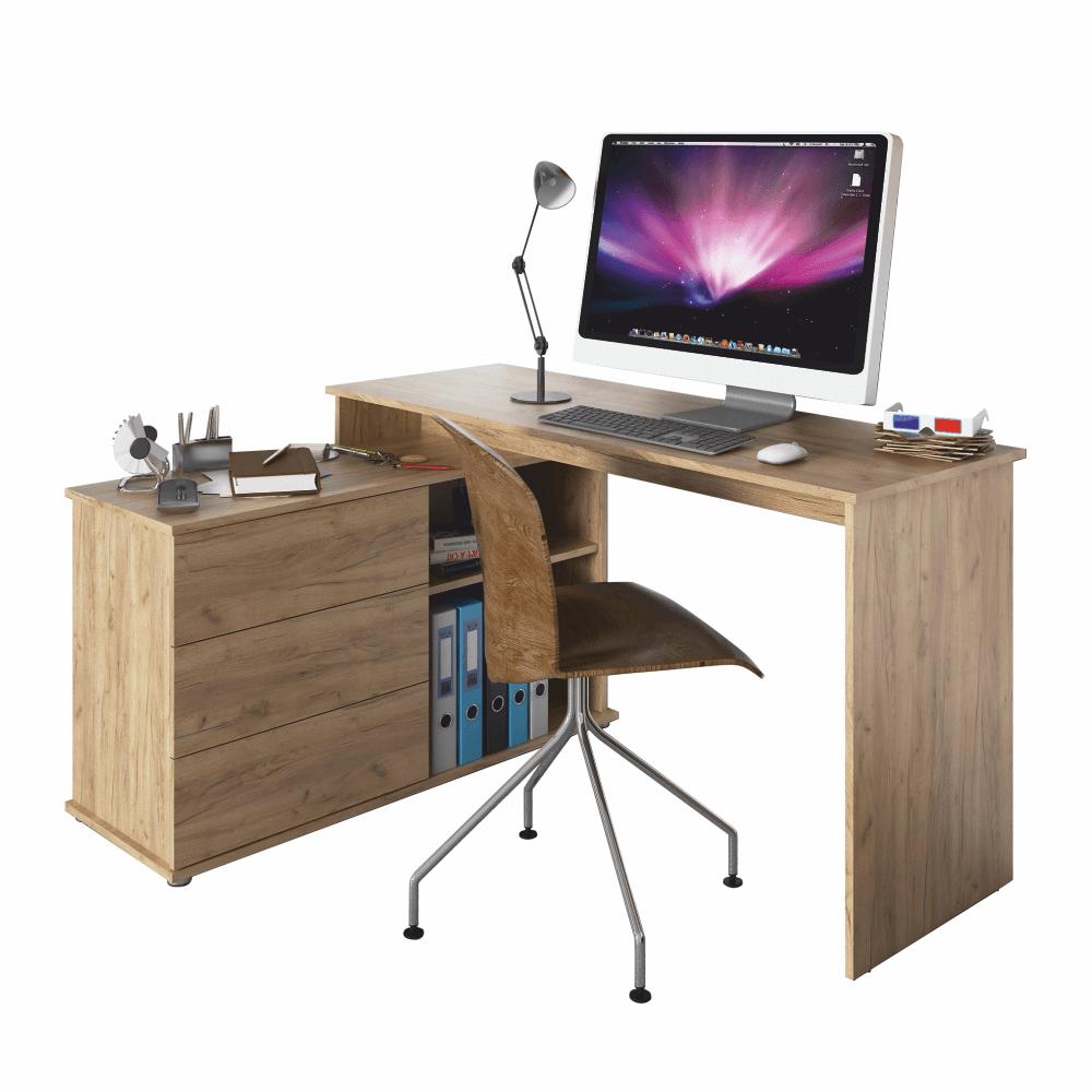 Univerzální rohový PC stůl, dub artisan, TERINO