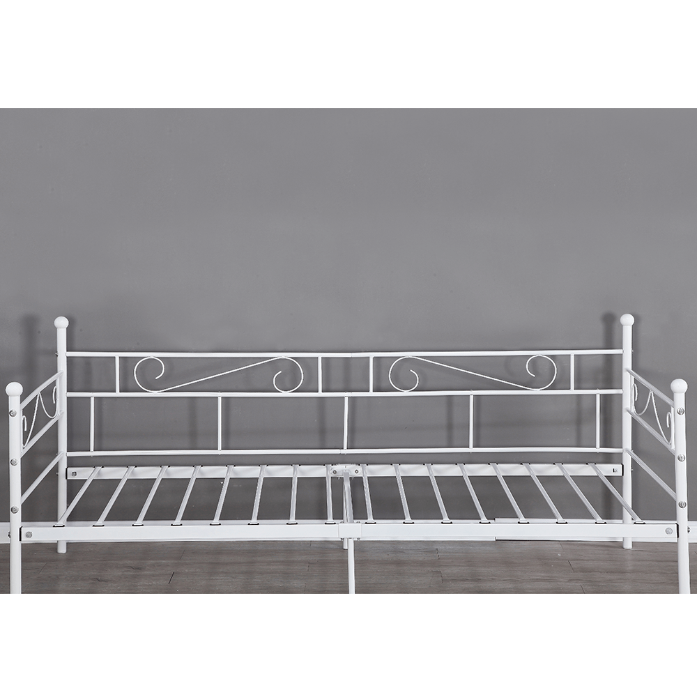 Kovová pohovka - jednolůžko, bílá, 90x200, ROZALI