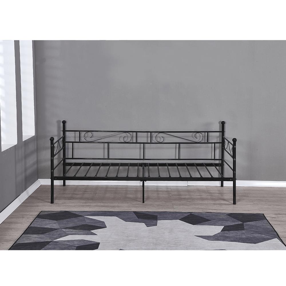 Kovová pohovka - jednolůžko, černá, 90x200, ROZALI