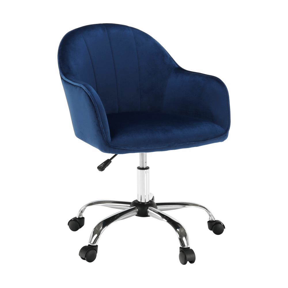 Kancelářské křeslo, Velvet látka modrá/chrom, EROL