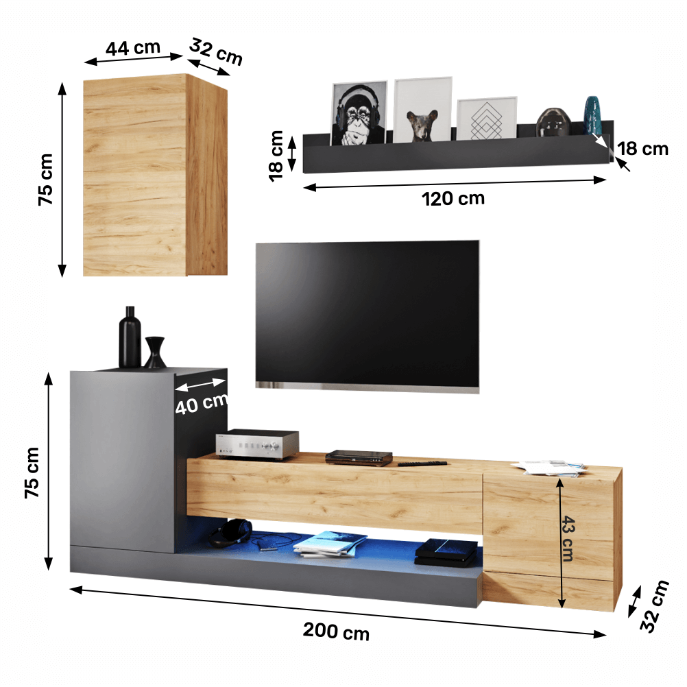 Set comoda TV din DTD Dula Gri/Stejar