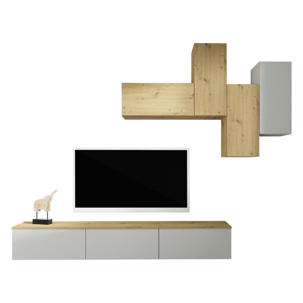 Set comoda TV si etajera din DTD laminat Oten Gri/Stejar