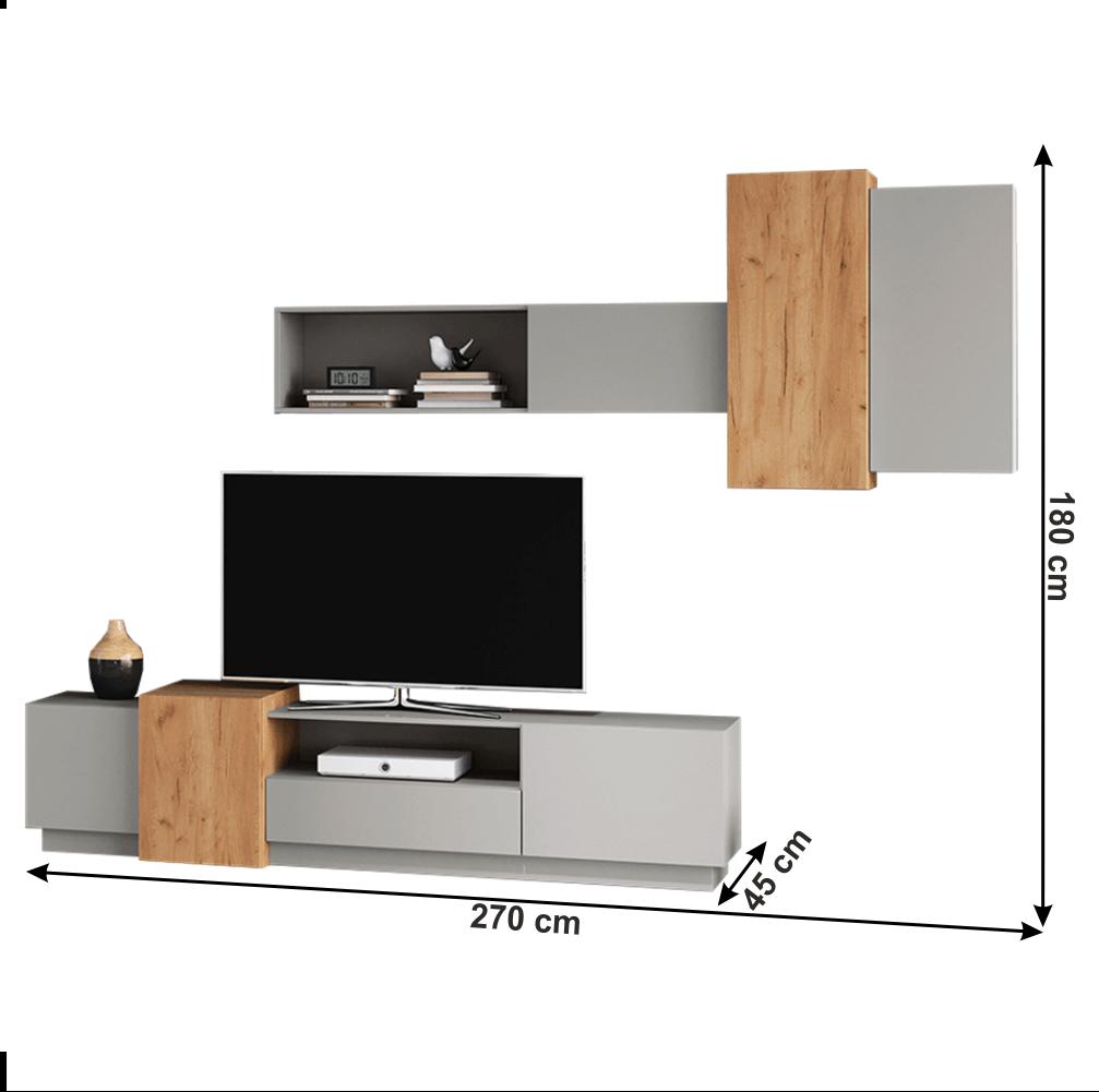 Set comoda TV si etajera din DTD laminat Trio Gri/Stejar