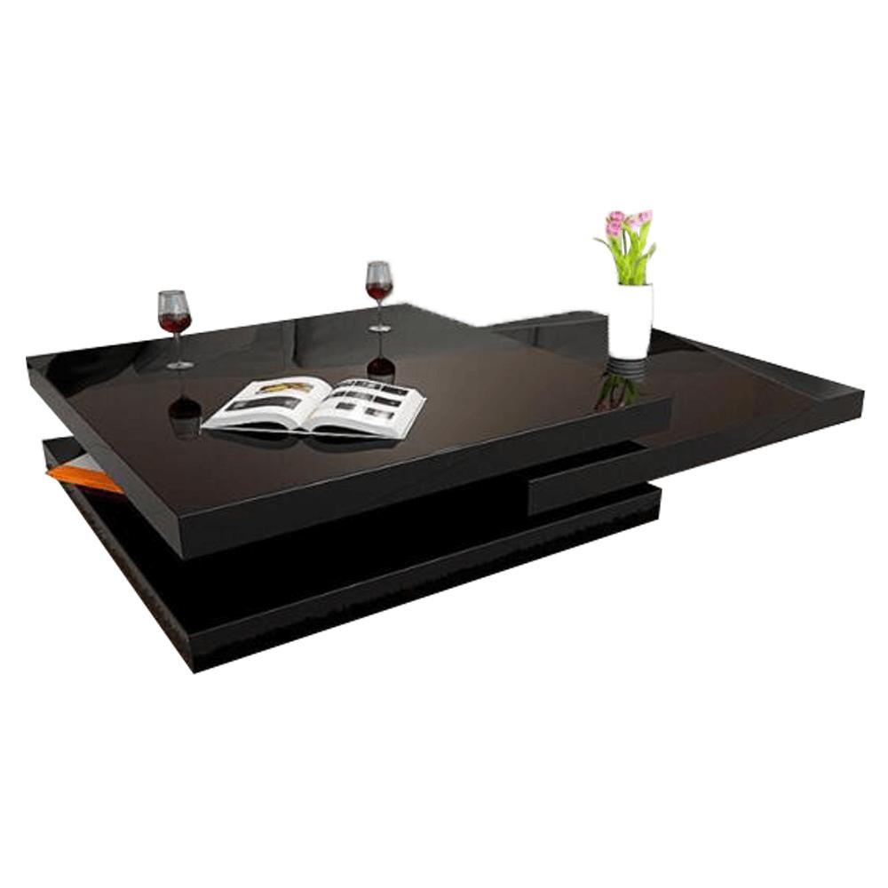 Otočný konferenční stolek, černá vysoký lesk HG, SONIC