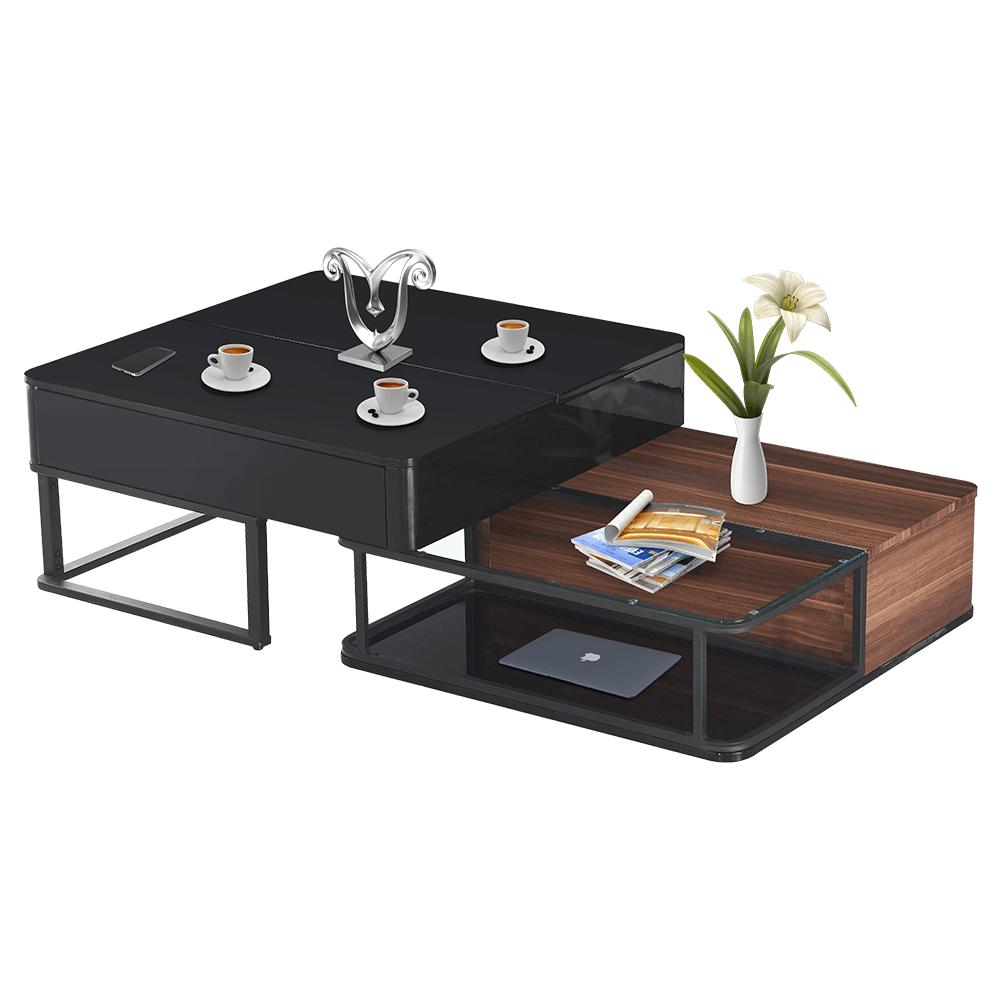 Set 2 konferenčných stolíkov, čierna extra vysoký lesk HG/orech/čierna, CASPER