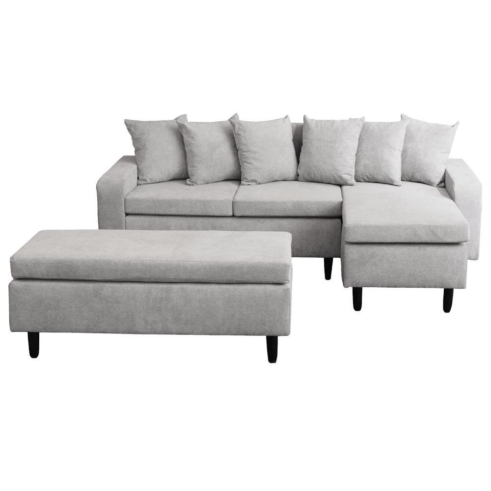 Canapea cu taburet, gri deschis, model dreapta, KELLY