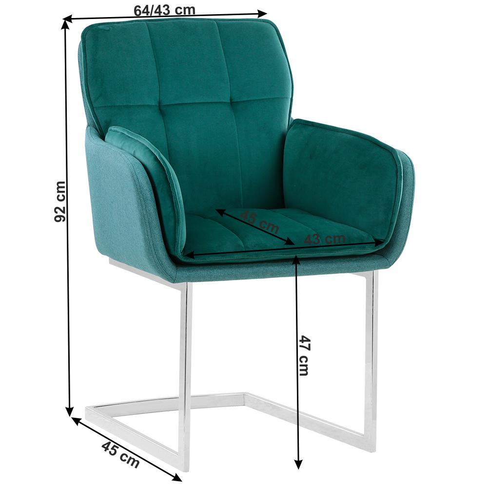 Jedálenská stolička, smaragdová Velvet látka/látka, CHIMENA
