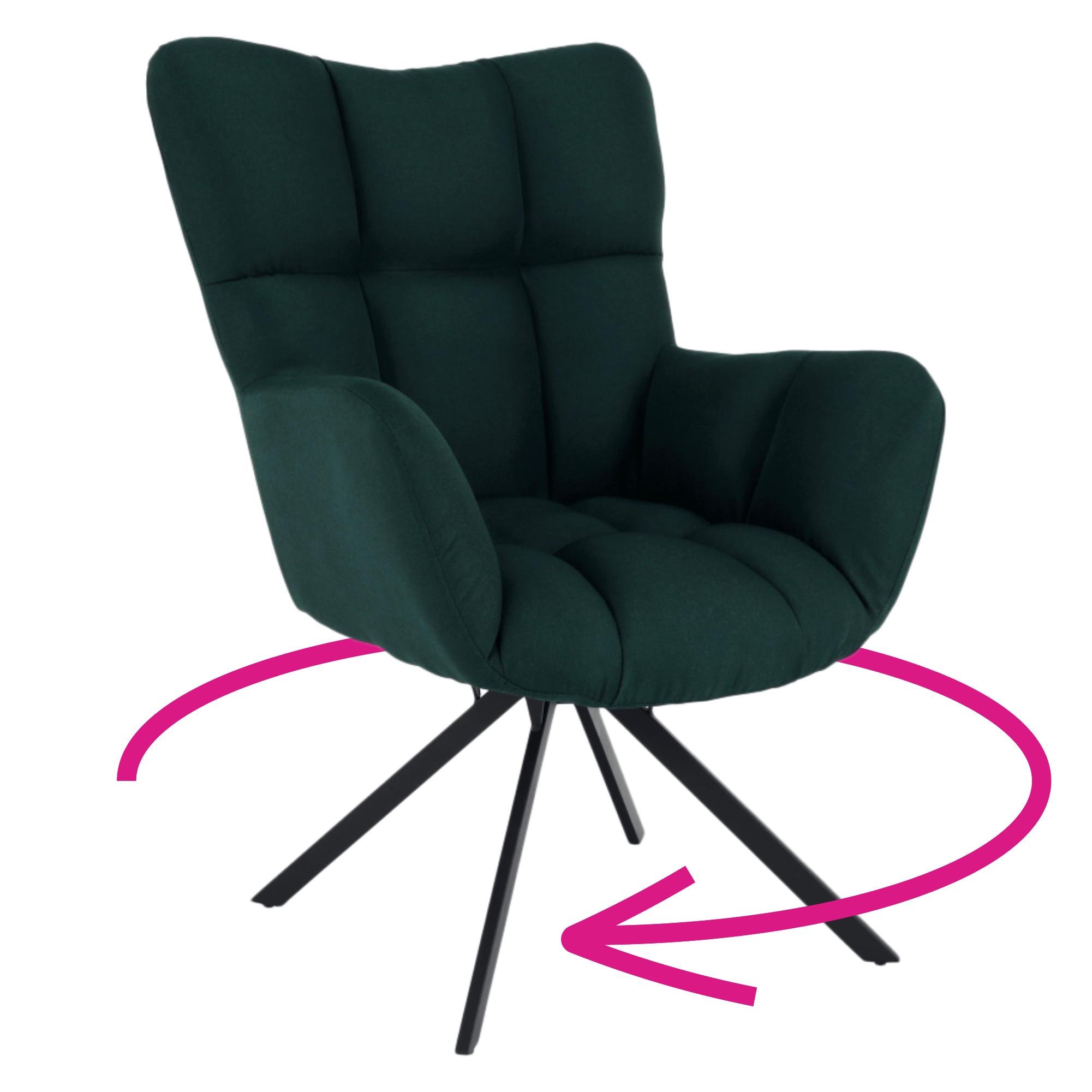 Dizajnové otočné kreslo, zelená  látka/čierna, KOMODO