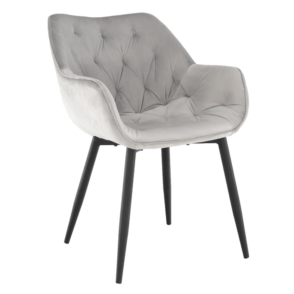 Dizájnos fotel, világos szürke Velvet anyag, FEDRIS