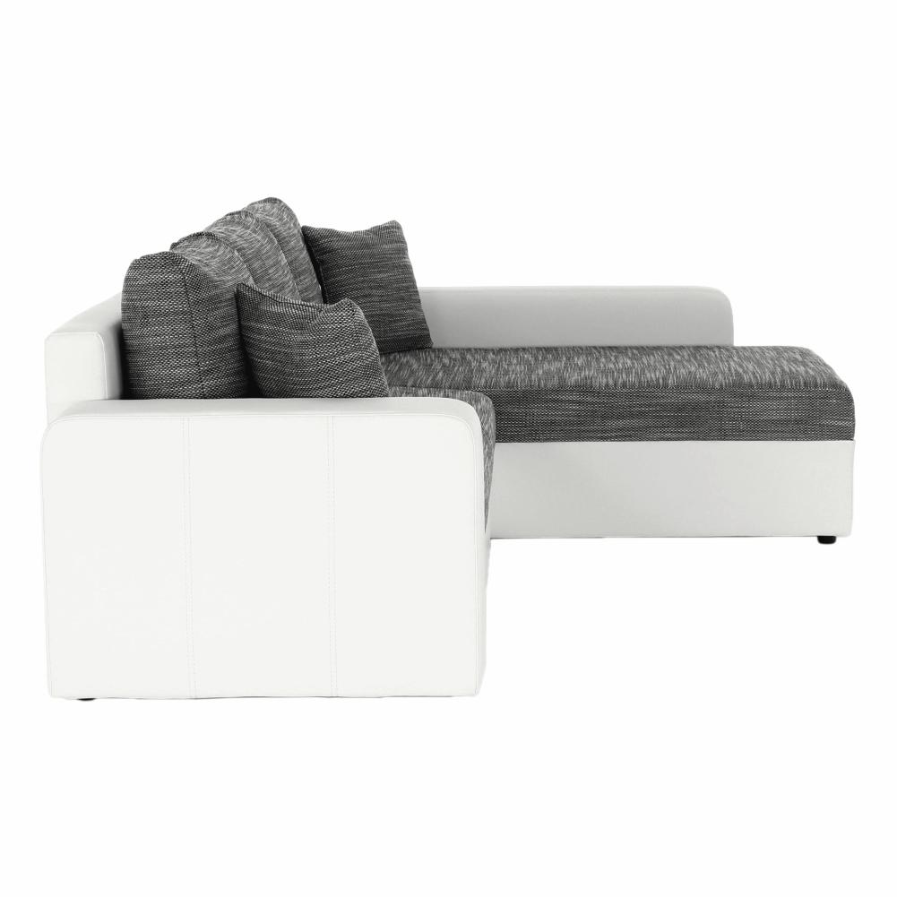 Rohová sedací souprava, ekokůže bílá / šenil šedá látka, VIPER, TEMPO KONDELA