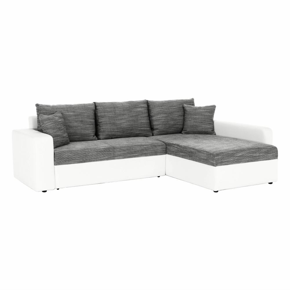 Sarok ülőgarnitúra, fehér textilbőr/szürke zsenília, VIPER