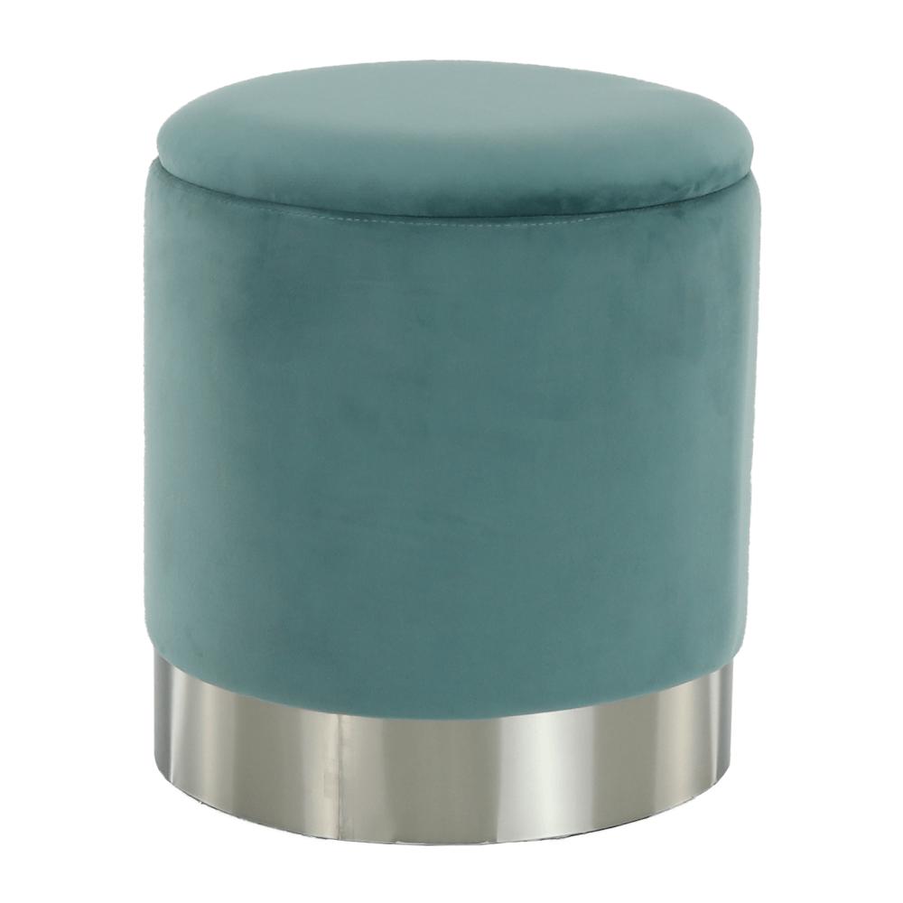 Taburet s úložným priestorom, zelená Velvet látka/strieborná chróm, DARON, rozbalený tovar