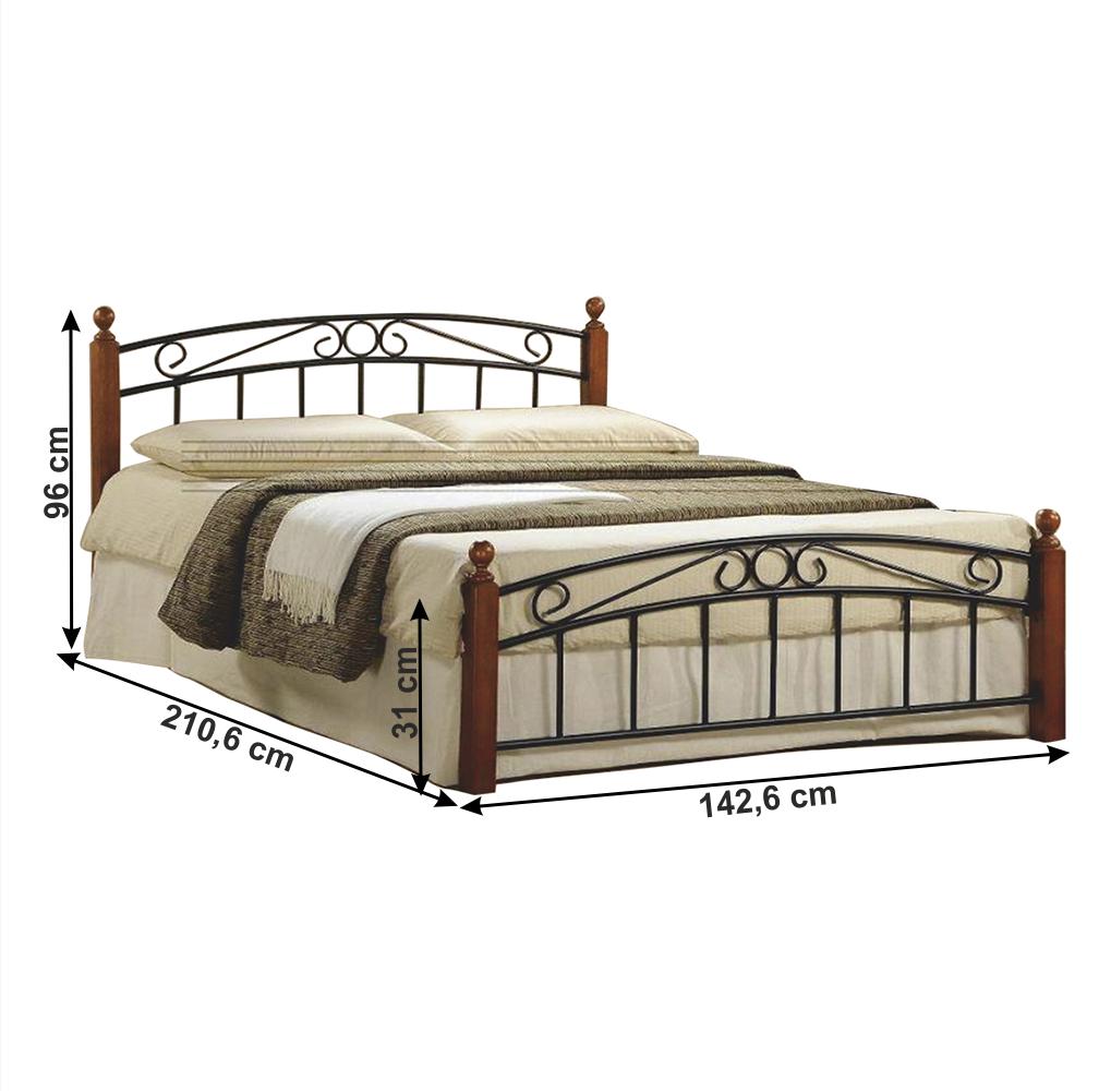 Manželská postel, třešeň / černý kov, 140x200, DOLORES, TEMPO KONDELA