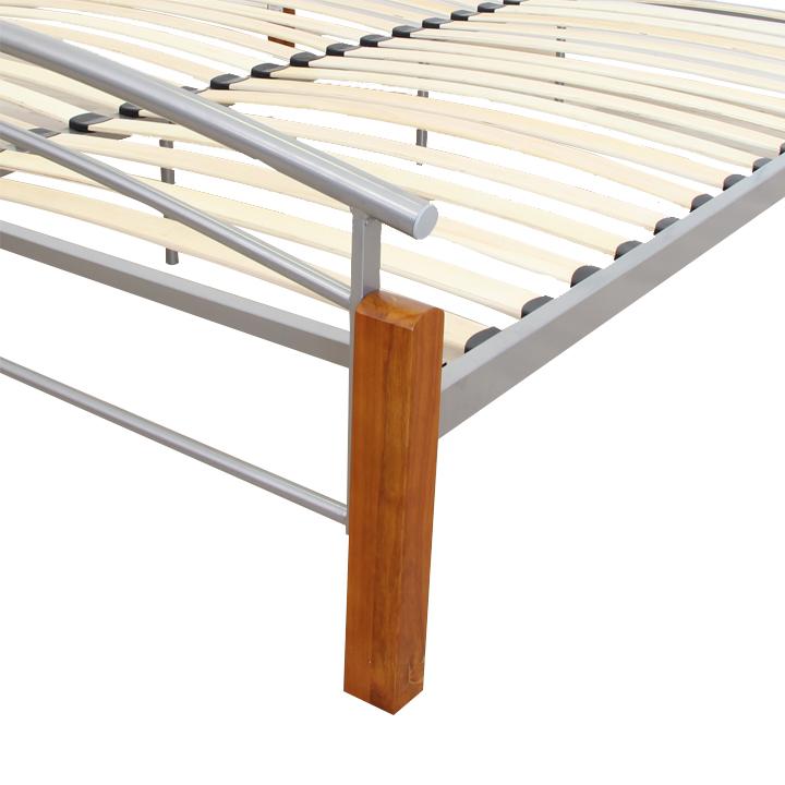 Manželská postel, dřevo olše / stříbrný kov, 180x200, MIRELA