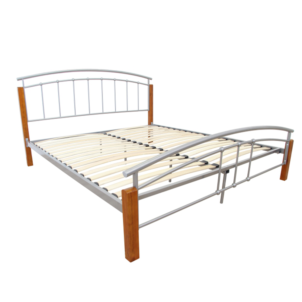 Manželská postel, dřevo olše / stříbrný kov, 180x200, MIRELA, TEMPO KONDELA