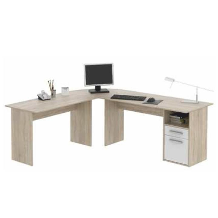 PC stôl, rohový, dub sonoma/biela, MAURUS MA11