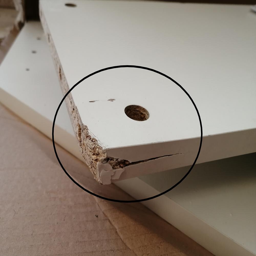 PC stôl, rohový, biela, RONY NEW, poškodený  tovar