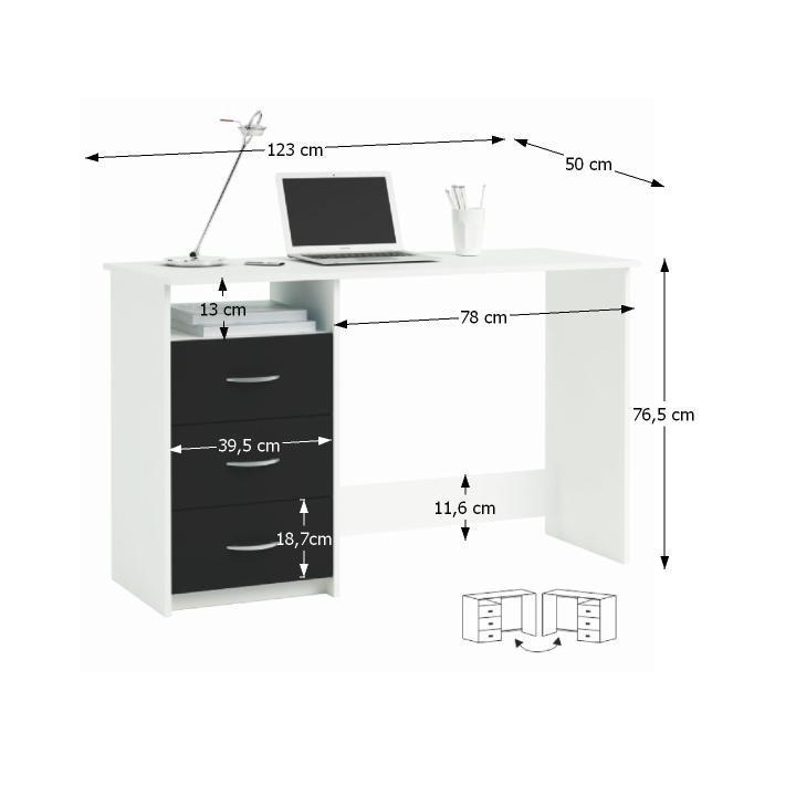 TEMPO KONDELA PC stôl, biela/čierna, LARISTOTE 304375 - Tempo nábytek