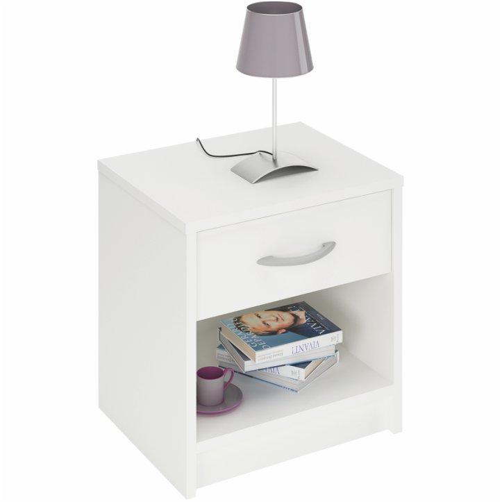 Nočný stolík, biela, BISI 305895