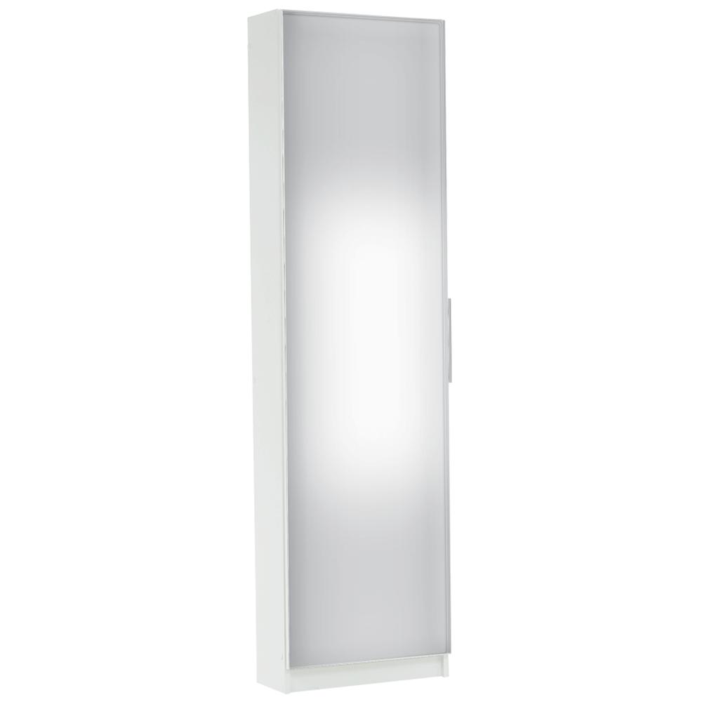 Cipős szekrény tükörrel,fehér, KAPATER 305397