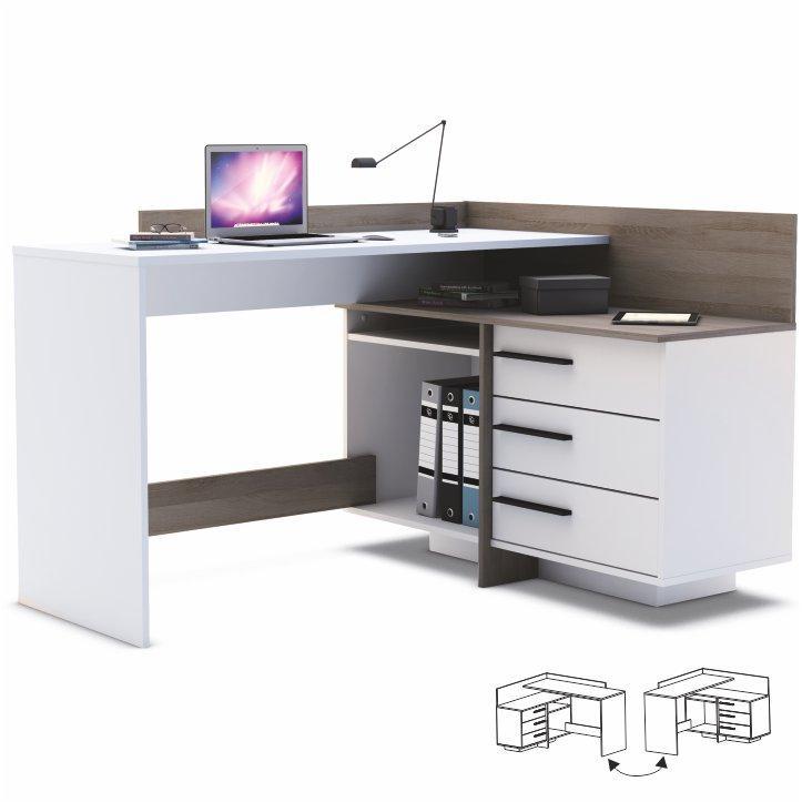 TEMPO KONDELA Univerzálny PC stôl, rohový, biela/tmavý dub, TALE - Tempo nábytek