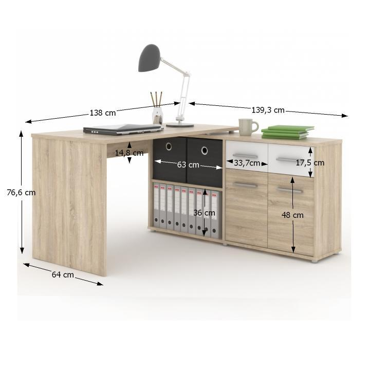 TEMPO KONDELA PC stolík, dub sonoma/biela, RAFAEL - Tempo nábytek