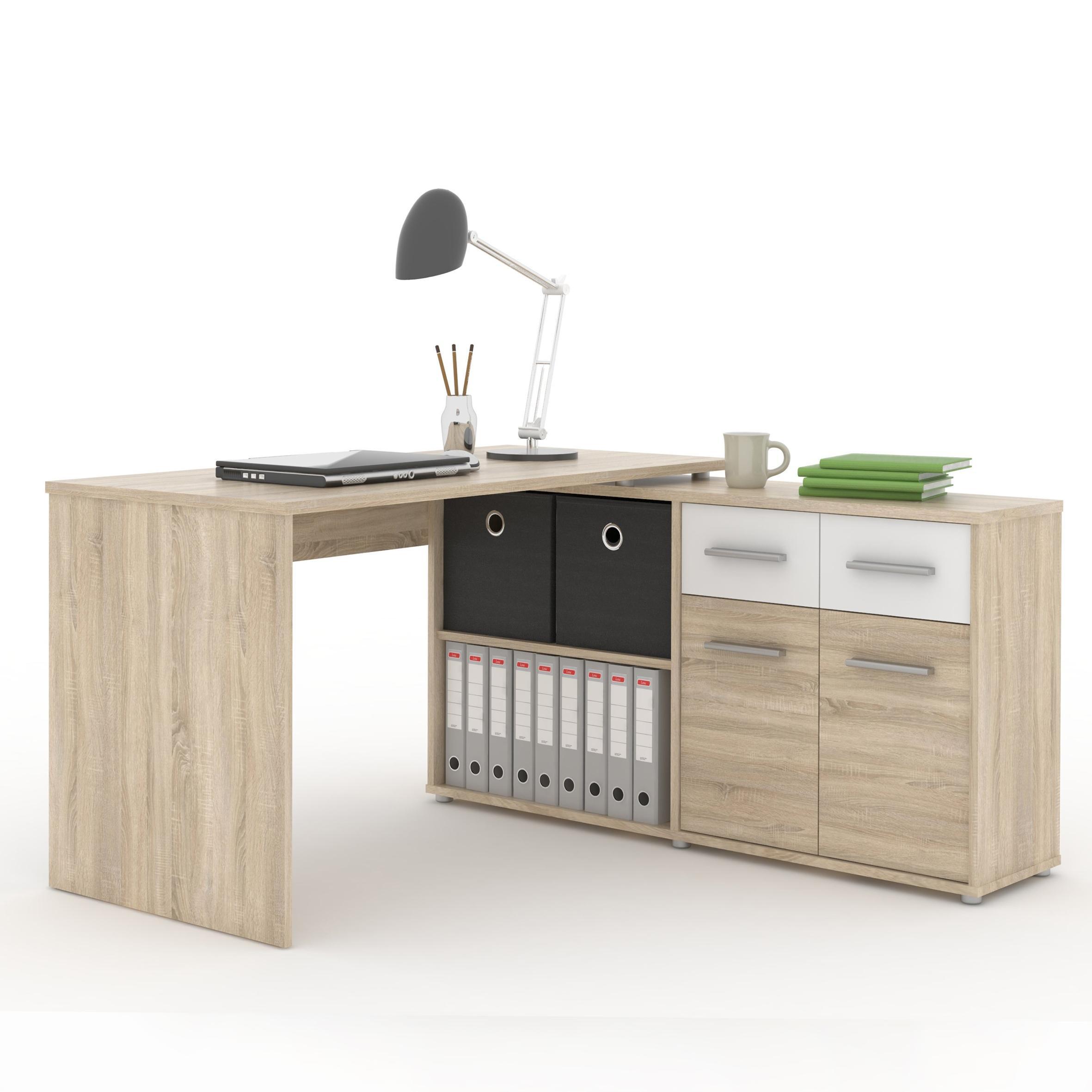 PC stolík, dub sonoma/biela, RAFAEL