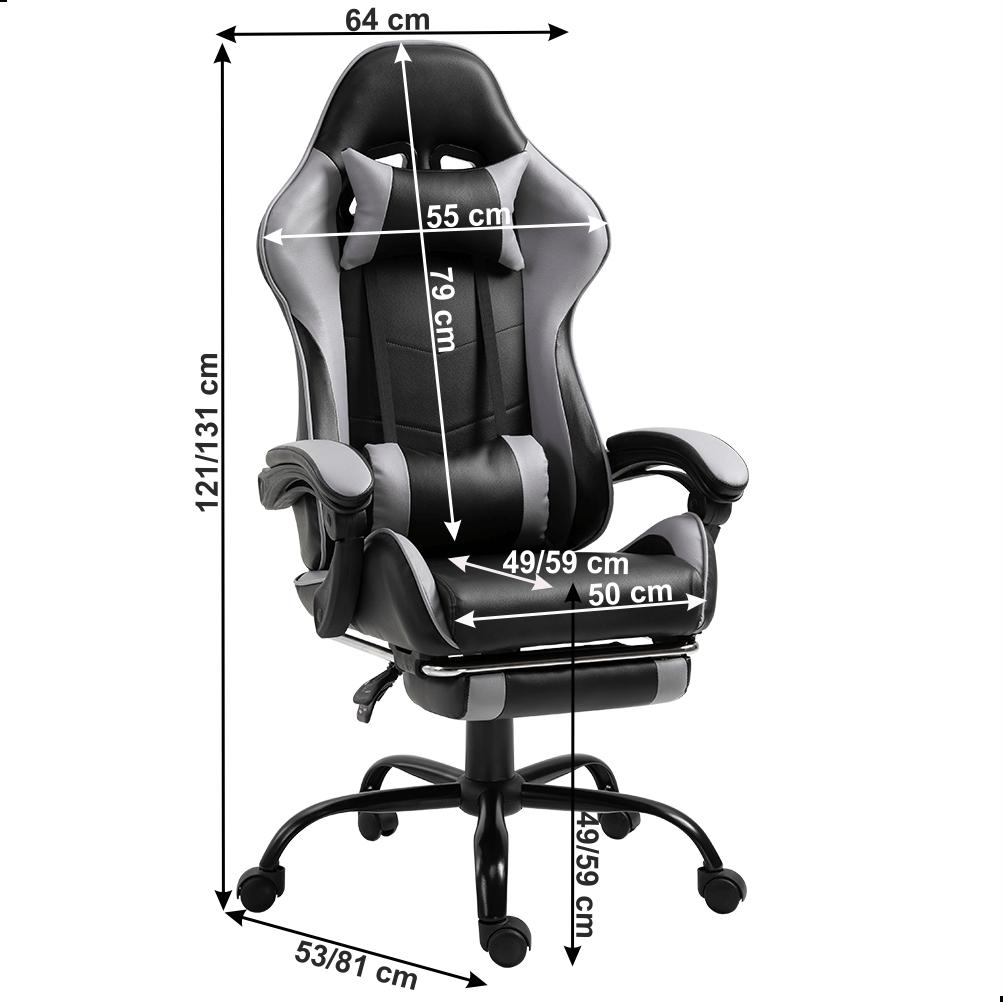Kancelářské / herní křeslo s podnoží, černá / šedá, TARUN