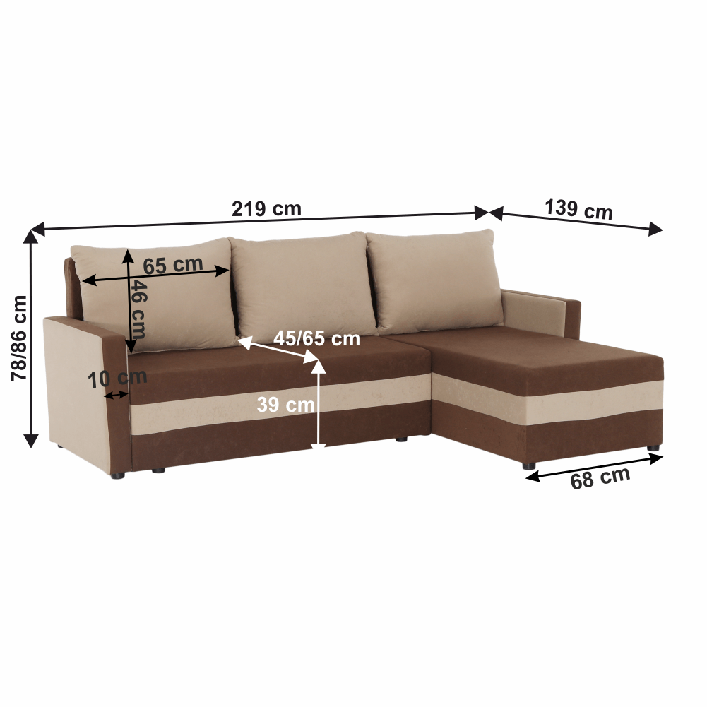Univerzális ülőgarnitúra, barna/bézs, PAULITA