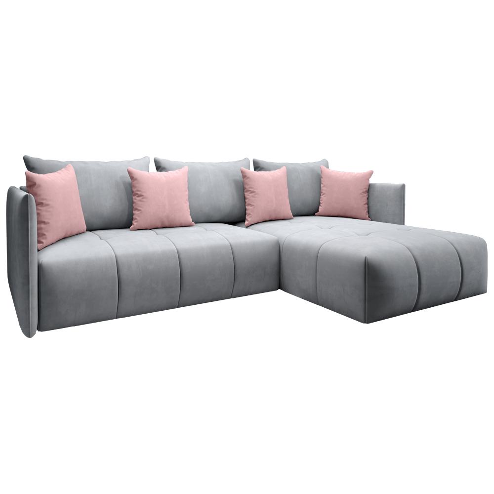 Univerzálna sedacia súprava, sivá/staroružová, LENY ROH