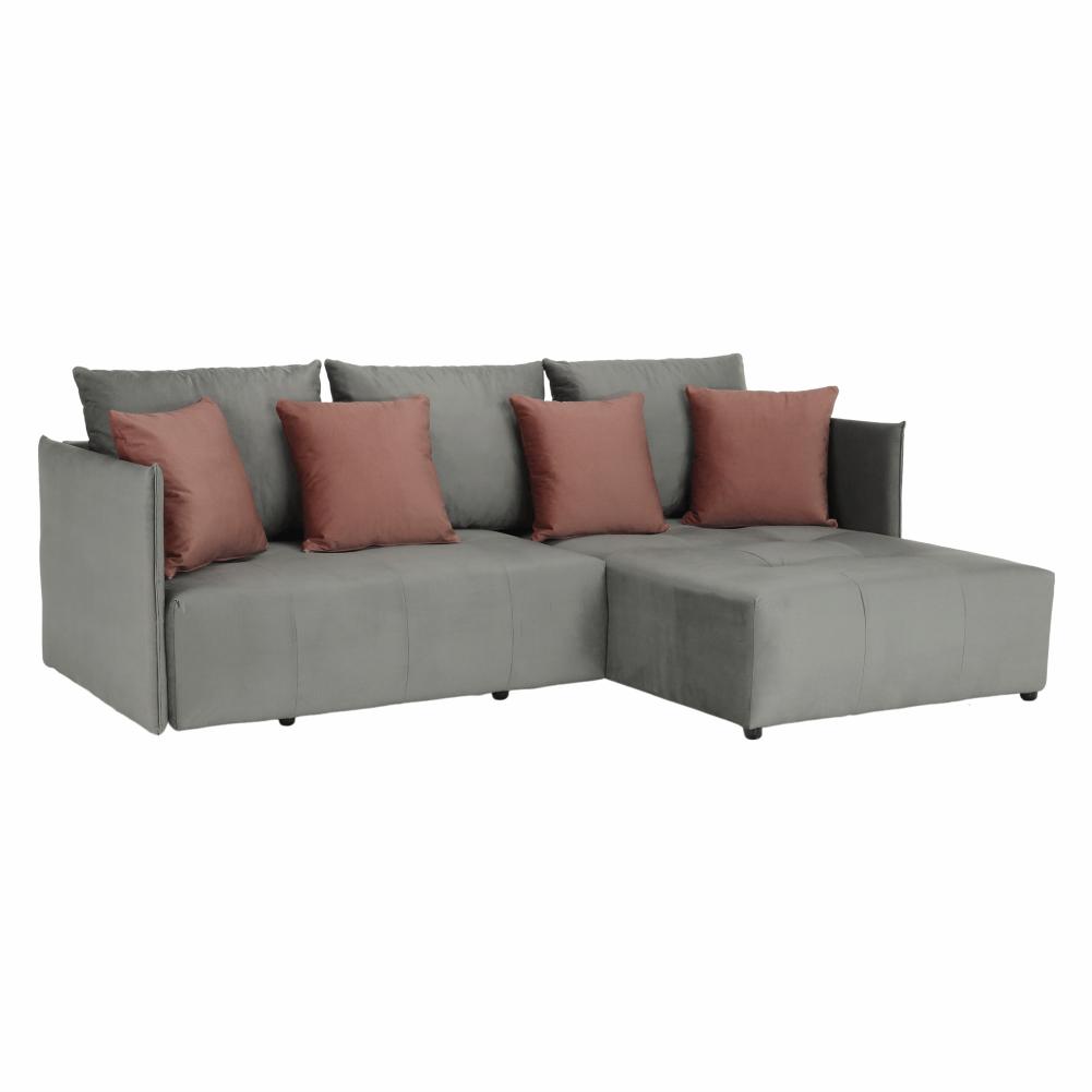 Univerzális ülőgarnitúra, szürke/rózsaszín, LENY