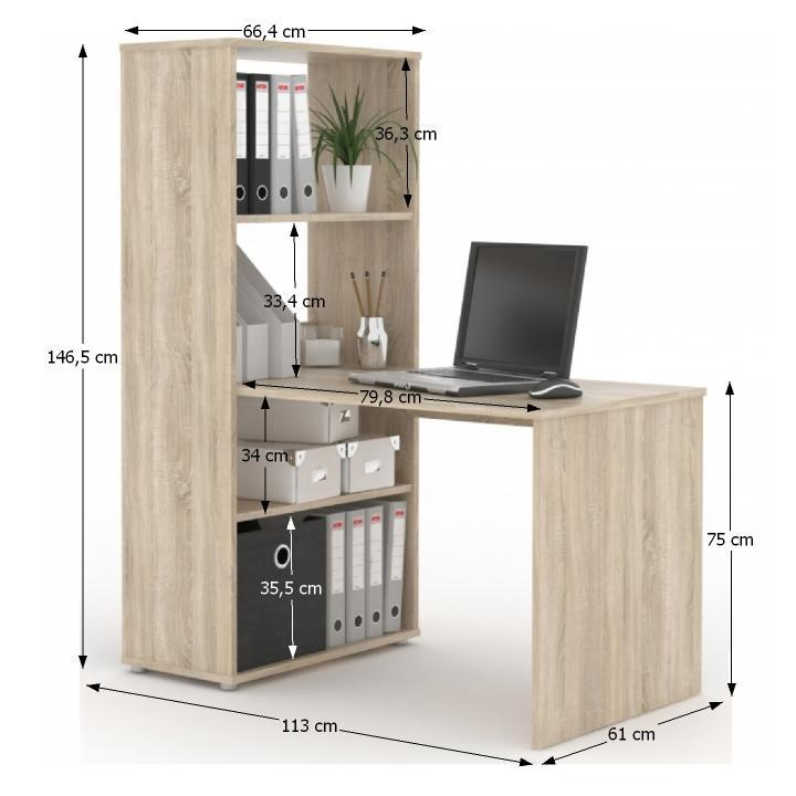 TEMPO KONDELA PC stolík s policou, dub sonoma, BENJAMIN - Tempo nábytek