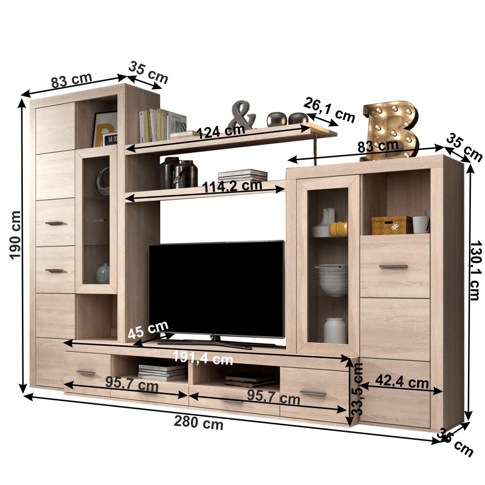 Set comoda TV din DTD laminat Atlantis Stejar