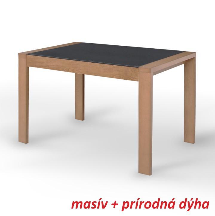 Étkező masszív összecsukható asztal,tölgyfa/fekete edzett üveg, JANADAN