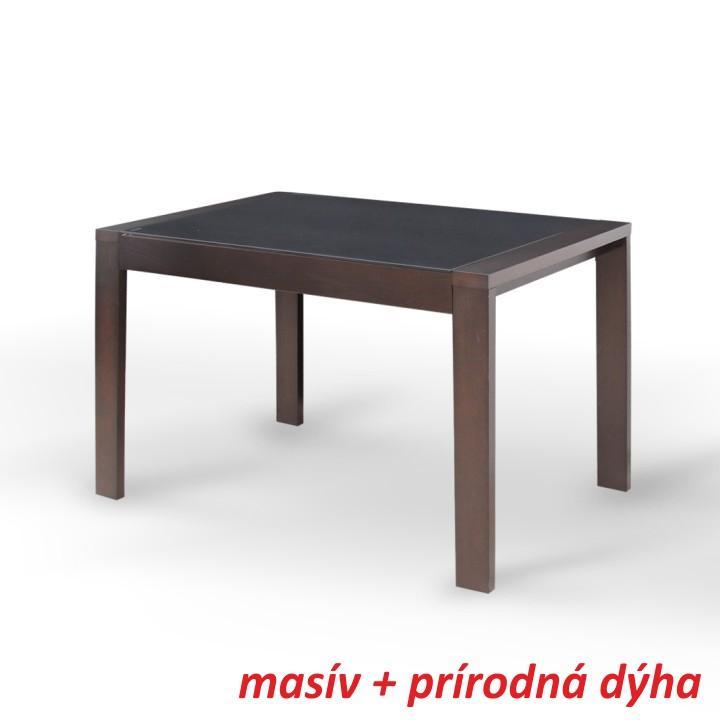 Étkező masszív összecsukható asztal,wenge/fekete edzett üveg, JANADAN